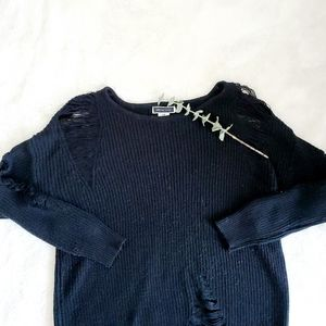 ANOTHER STORY distressed acrylic sweater